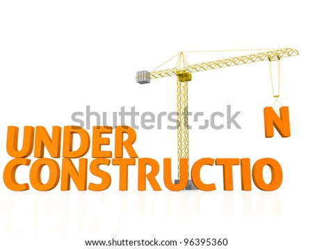 3D render of the words under construction being assembled by a tower crane. - stock photo