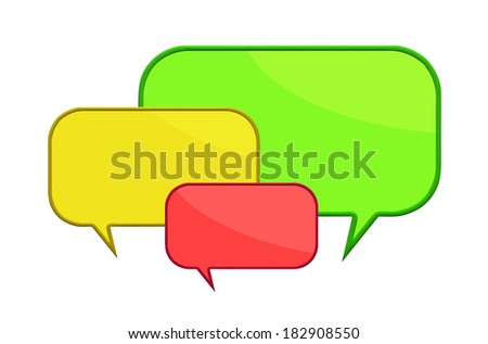 3d render of  three color speech bubbles