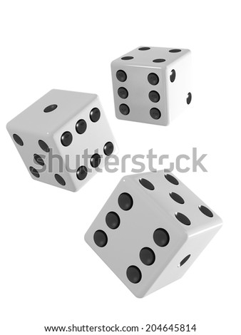 3d render of three white dice falling