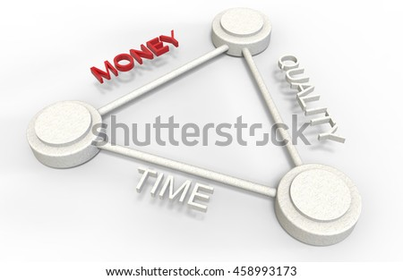 3d render of time money quality concept isolated on white