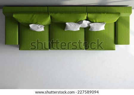 3d render of top view of big green couch - stock photo