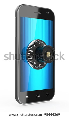 3d render of touchscreen phone with combination Lock isolated on white background