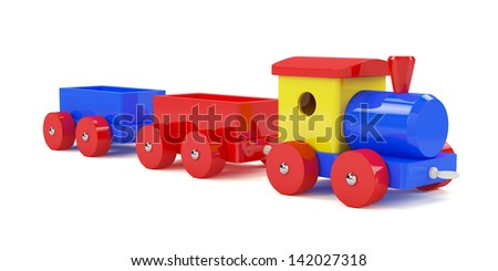 3d render of toy train isolated on white background - stock photo