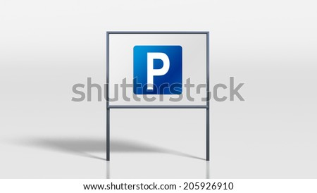 3d render of traffic signage stands parking - stock photo