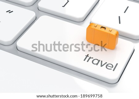 3d render of travel bag sign on the computer keyboard. Travel concept  - stock photo