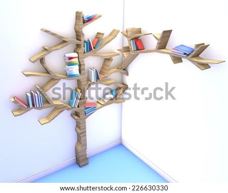 3d render of Tree of knowledge. Bookshelf - stock photo