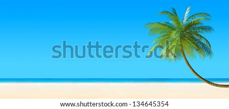 3d render of Tropical beach panorama with palm tree - stock photo