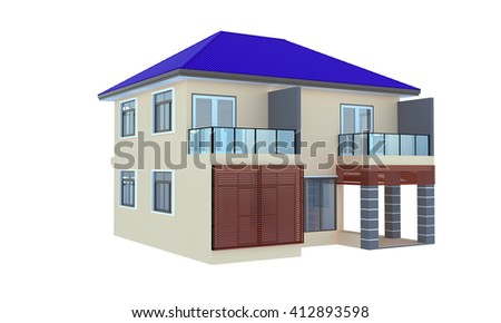 3d render of tropical house. Isolated background
