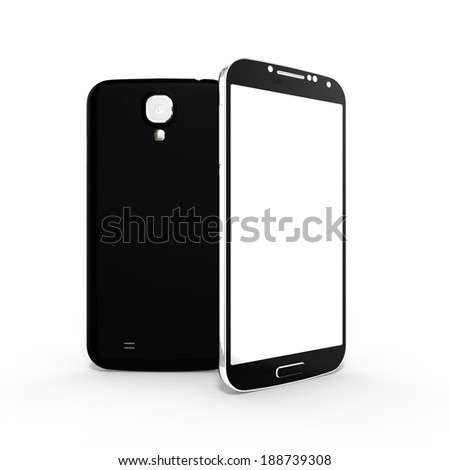 3d render of two black smartphones with clipping path, isolated on white background - stock photo