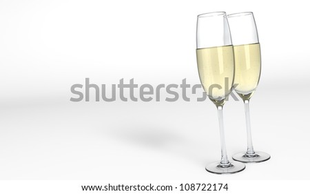 3D render of two elegant glasses with champagne