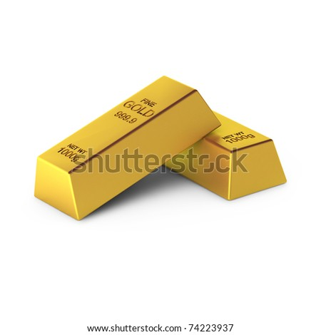3d render of two gold bars - stock photo