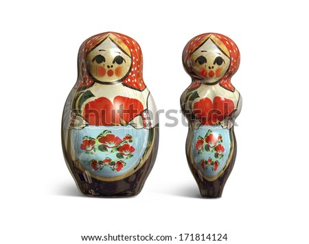 3D render of two matryoshka dolls slim and fat isolated on white - stock photo