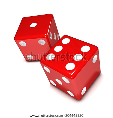3d render of two red dice