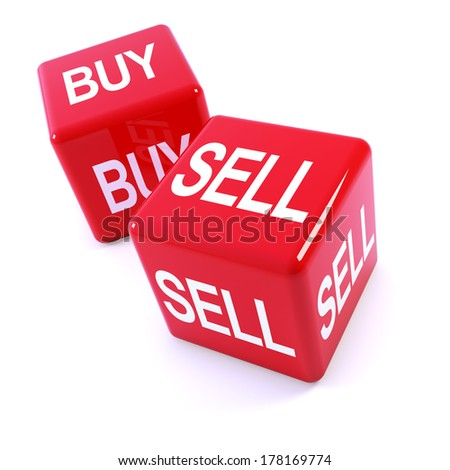 "3d render of two red dice with the  words ""buy"" and ""sell"""
