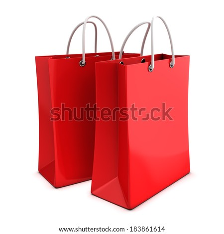 3d render of two red shopping bags