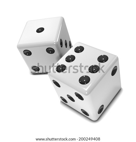 3d render of two white dice