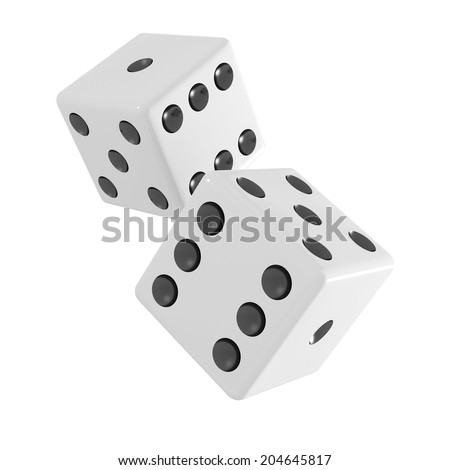 3d render of two white dice falling