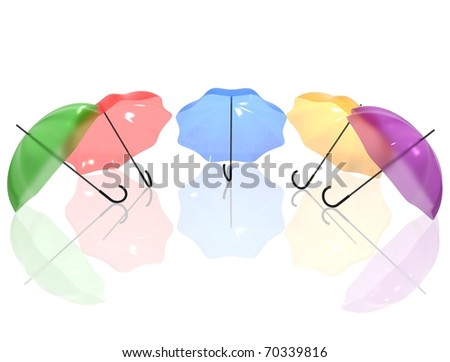 3d Render of umbrellas with reflection on white isolated background