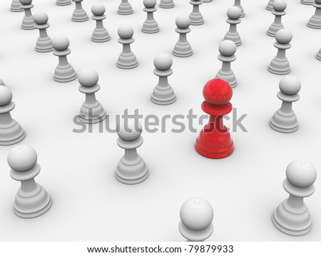 3d render of unique reflective chess peace, which is standing out from the crowd