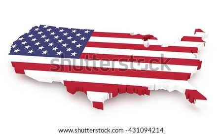 3D render of USA map with a flag texture isolated on white background, close up  - stock photo