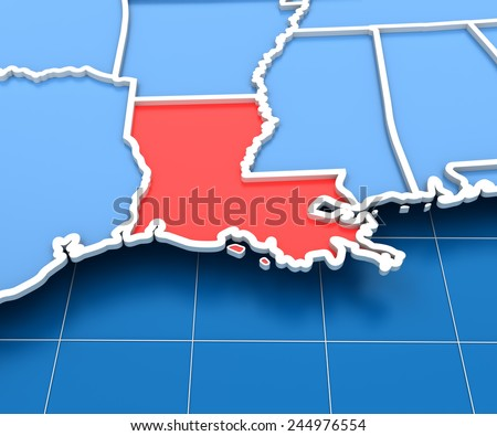 3d Render Of Usa Map With Louisiana State Highlighted In Red