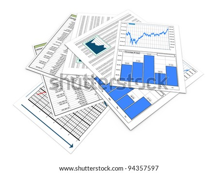 3d render of various financial reports and sheets - stock photo