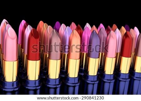 3D render of various lipsticks, shallow DOF - stock photo