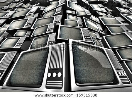 3D render of Vintage television pile. - stock photo