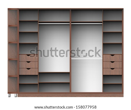 3d render of wardrobe with shelves on a white background