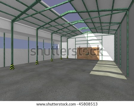 3d render of warehouse interior