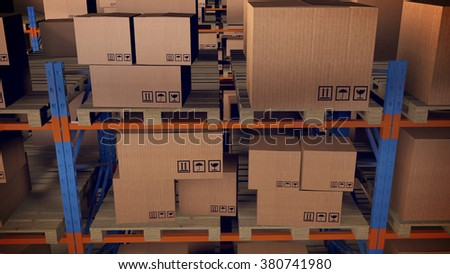 3D render of Warehouse interior with racks and crates - stock photo