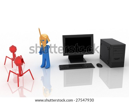 3d render of warrior, who protect computer.