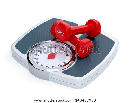 3d render of weight scale with red dumbbells isolated on white background - stock photo