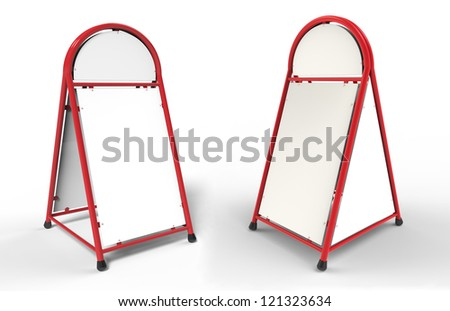 3d render of white advertising stand - stock photo