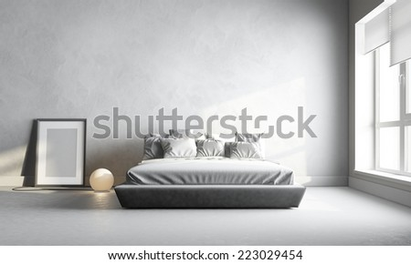 3d render of white bedroom - stock photo