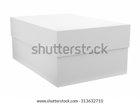 3d render of white box isolated on white background - stock photo