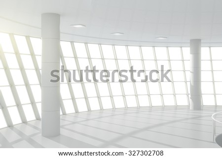 3D Render of White business center hall - stock photo