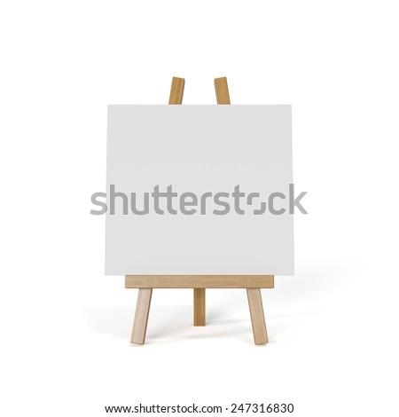 3d render of white canvas on an easel isolated on white background - stock photo
