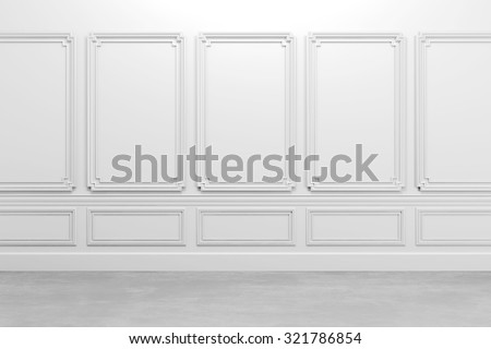 3d render of white classic interior  - stock photo