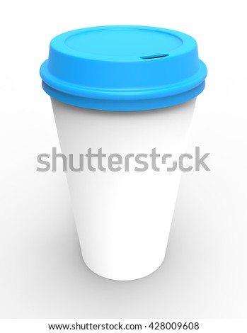 3d render of white coffe cup with plastic blue lid
