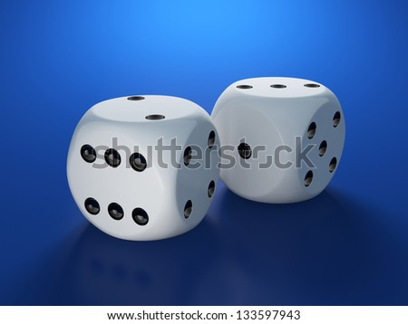 3d render of white dices on blue background