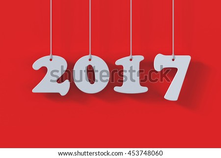 3d render of 2017 white paper origami card on red background - stock photo