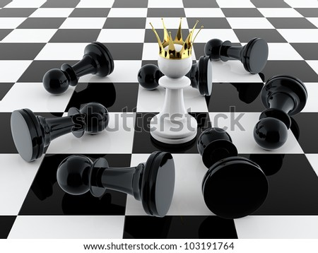3D render of white pawn with golden crown defeating enemy - stock photo