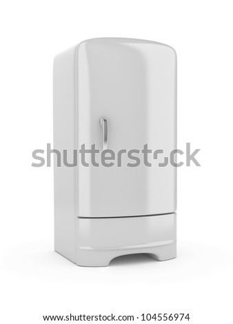 3d render of white refrigerator, isolated on white background - stock photo