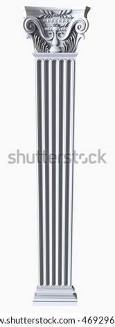 3d render of White stone column on a white background
