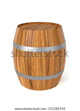 3d render of wine barrel isolated on white background - stock photo