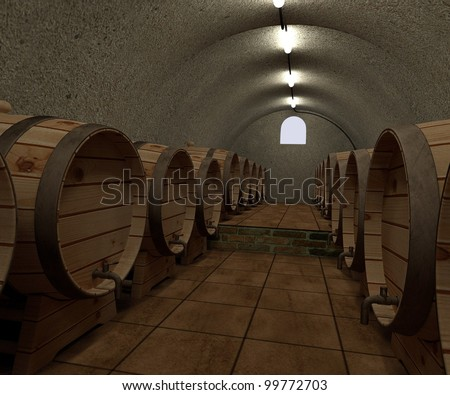3d render of wine cellar