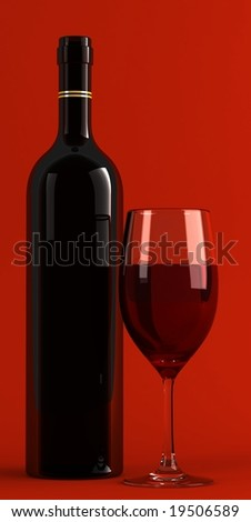 3d render of wine glass and bottle