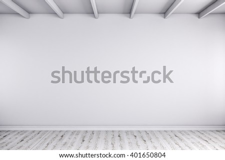 3d render of wmpty room with white walls and wooden floor - stock photo