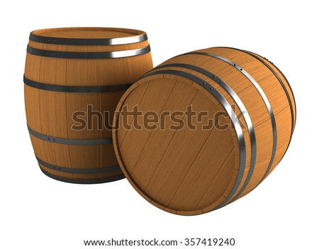 3d render of wooden barrels isolated over white background - stock photo